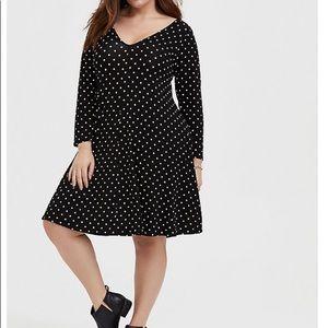 🖤 Torrid NWT Black Polka Dot Trapeze Dress